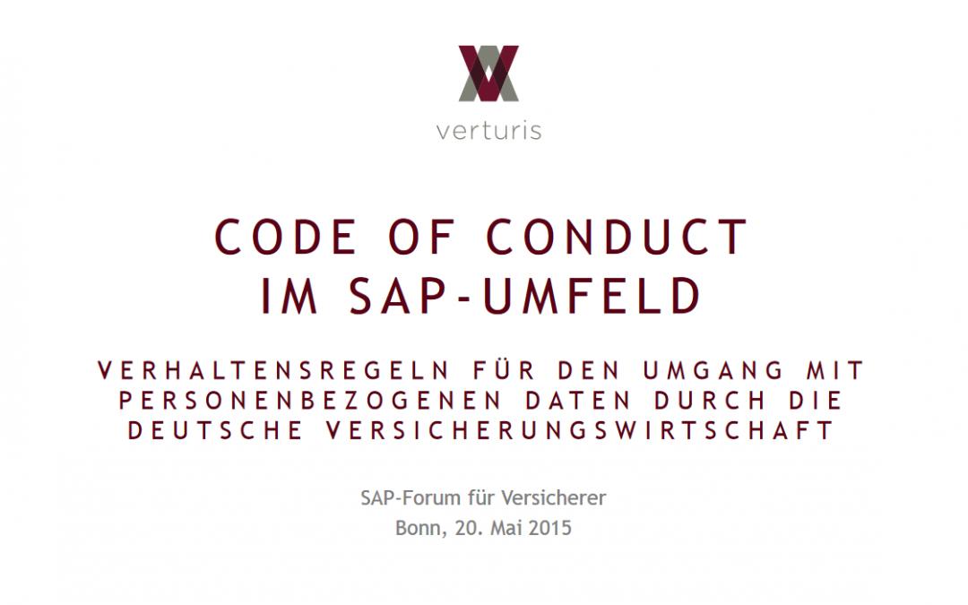 """Vortrag """"Code-of-Conduct im SAP-Umfeld"""" auf dem SAP-Forum für Versicherer 2015"""